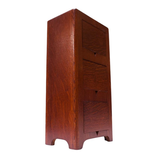 Art Deco Hand Carved Mahogany Three-Drawer Jewelry Chest / Storage Compartment For Sale