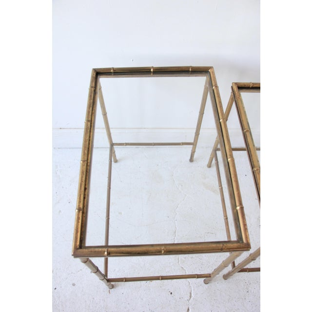 Gold Vintage Brass Faux Bamboo Nesting Tables - Set of 3 For Sale - Image 8 of 9
