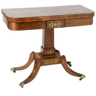 19th Century George IV Rosewood and Brass Games Table For Sale