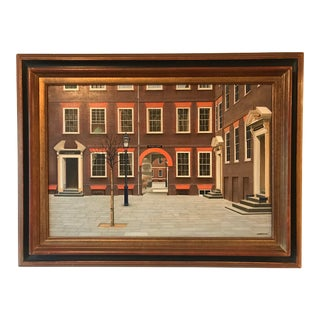 """Late 20th Century """"Pump Court Temple City of London"""" Architectural Oil Painting by Angelo Mozziconacci, Framed For Sale"""
