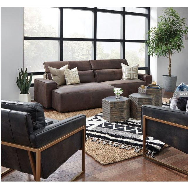 Kenneth Ludwig Chicago Kenneth Lugwig Davis Top Grain Leather Sectional For Sale - Image 4 of 7
