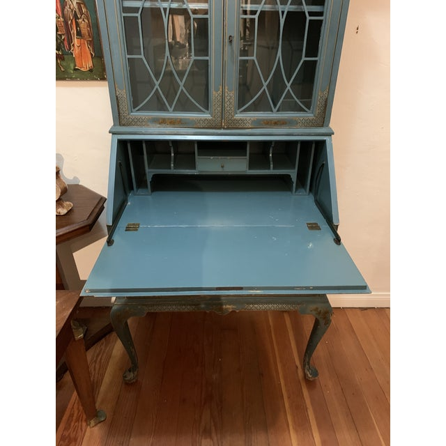 Mid Century Hand Painted Chinoiserie Blue Secretary Desk For Sale - Image 12 of 12