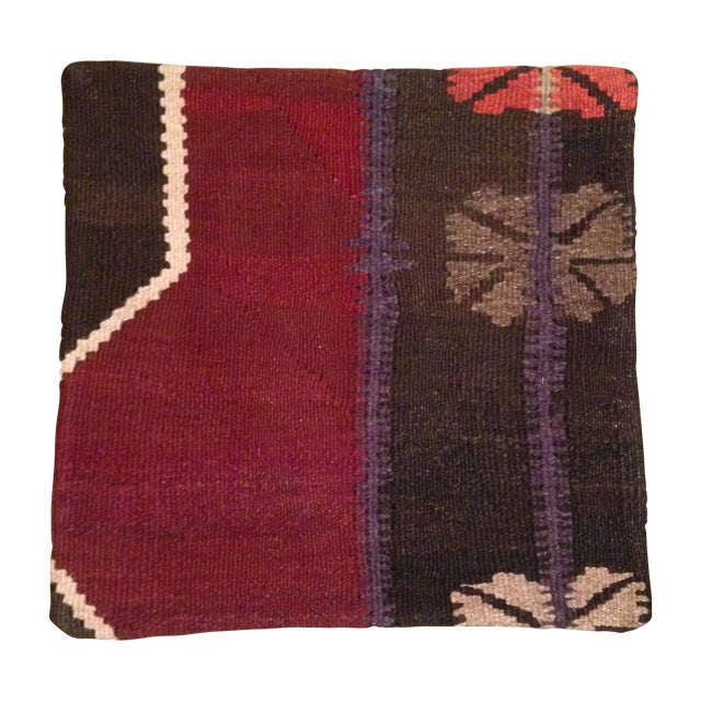 Vintage Maroon & Brown Kilim Pillow Case - Image 1 of 5