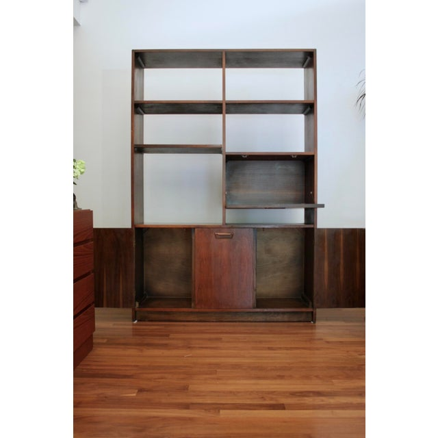 Boho Chic Danish Modern Room Divider Bookcase in Walnut For Sale - Image 3 of 13