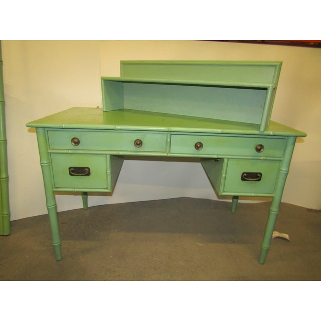 Vintage Faux Bamboo Desk in Old Green Paint & Top Shelf For Sale In West Palm - Image 6 of 7