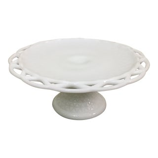 Vintage Milk Glass Cake Stand For Sale