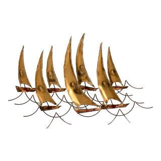 Mid-Century Brutalist Sailboat Wall Decor For Sale