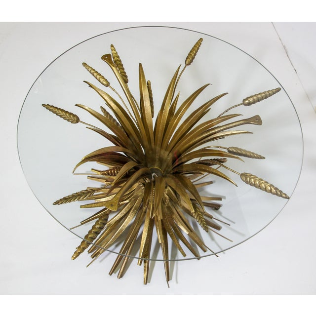 Vintage French Sheaf of Wheat Glass Top and Metal Side Table For Sale - Image 11 of 13