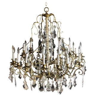 Bronze and Crystal Palatial Thirty-Light Chandelier For Sale