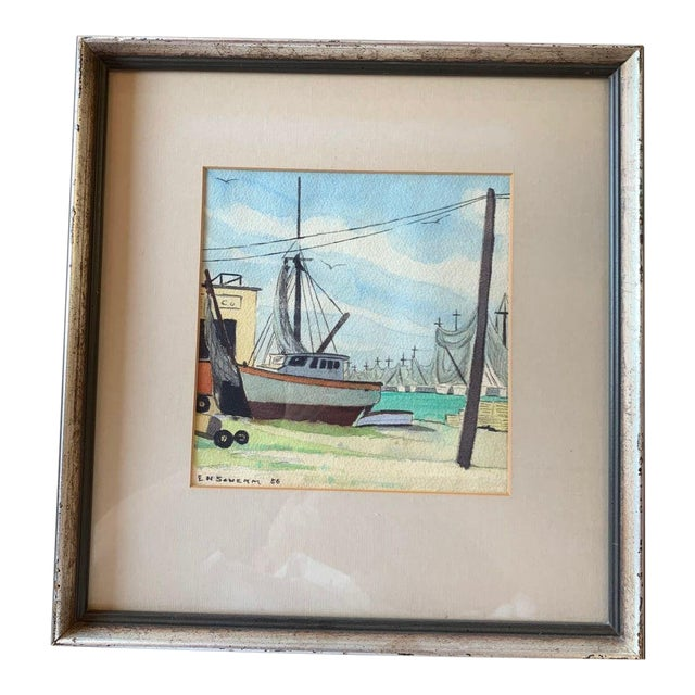 Harbor Scene Watercolor Painting by Earle M. Scherm For Sale