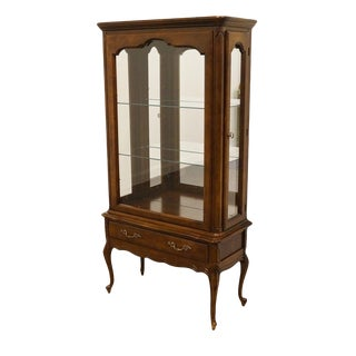 Hammary Solid Cherry Louis XVI Country French Lighted Curio Display Cabinet For Sale
