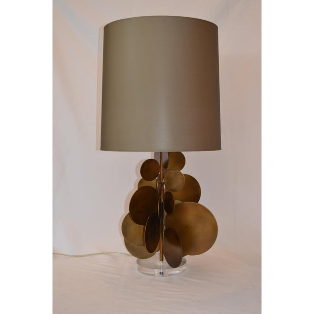 Modern Arteriors Home Brass Disc Lamp With Brown Shade For Sale In Greensboro - Image 6 of 7