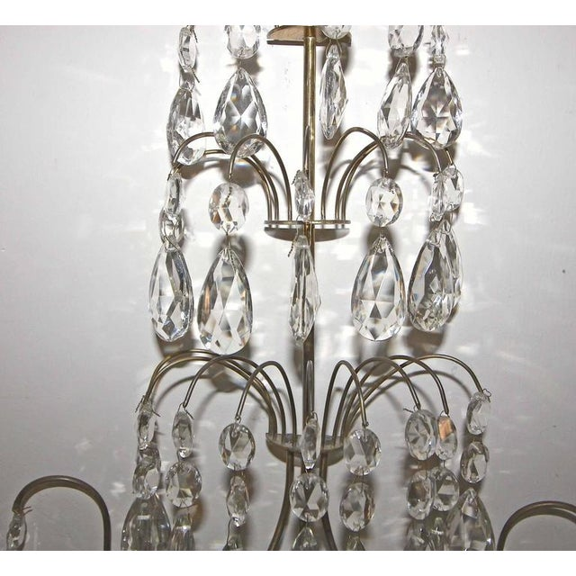 1920s Swedish Gustavian Style Crystal and Brass Candle Wall Sconces - a Pair For Sale In Dallas - Image 6 of 11