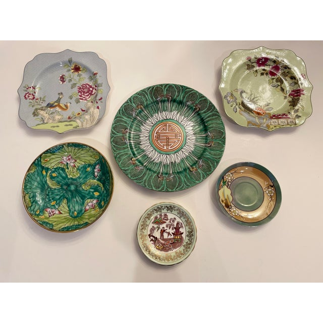 Green Green Asian Mixed Decorative Plates- a Set of 6 For Sale - Image 8 of 8