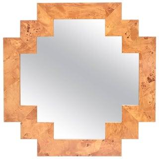 Italian Burled Elm Wood Geometric Mirror For Sale