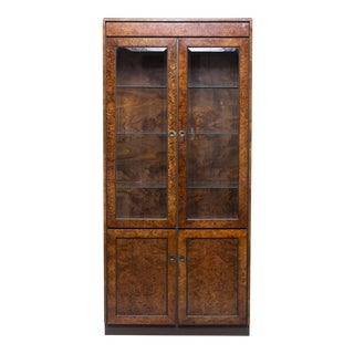 Widdicomb Mid Century Burled Olive Wood Cabinet With Glass Doors For Sale
