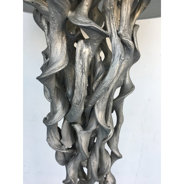 Contemporary Silver Twisted Wood Floor Lamp For Sale - Image 3 of 5