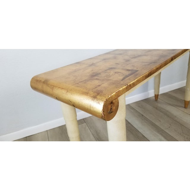 Italian Hollywood Regency Gold- Leaf Console Table For Sale - Image 4 of 13