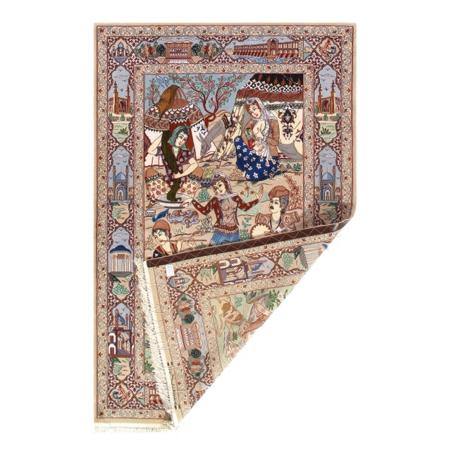 Islamic Modern Pasargad Persian Isfahan Korker Wool & Silk Rug - 4′4″ × 6′10″ For Sale - Image 3 of 4