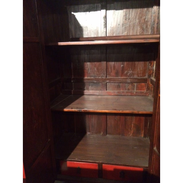 Antique Chinese Red & Black Armoire For Sale In Greensboro - Image 6 of 8