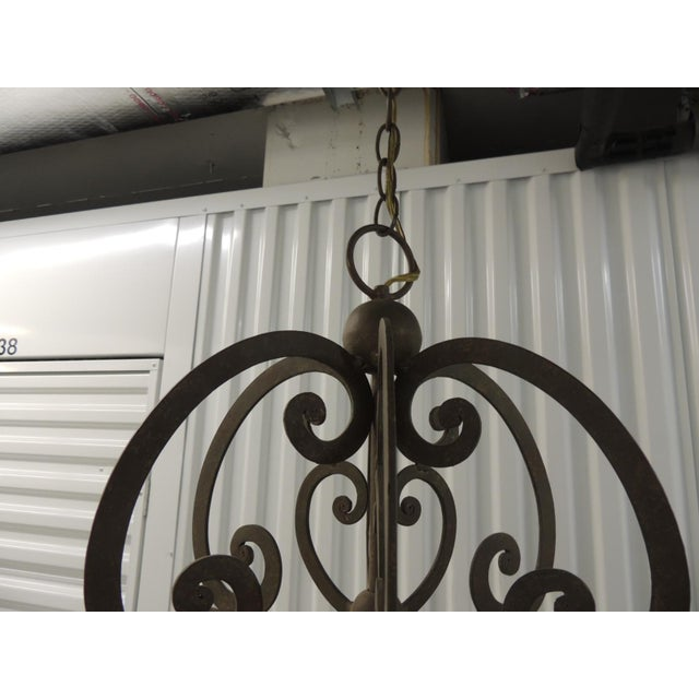 Large Traditional Forged Iron Hanging Chandelier From Curry & Co For Sale - Image 9 of 12