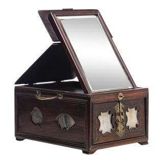 19th Century Chinese Cosmetic Box With Fold Up Mirror For Sale