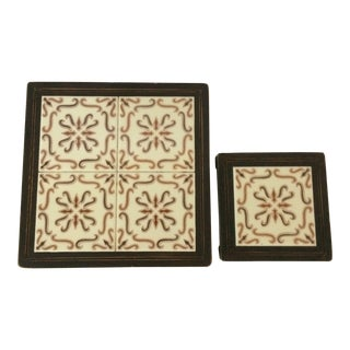 1970's Arts and Crafts Brown Mexican Tile Trivets - 2 For Sale