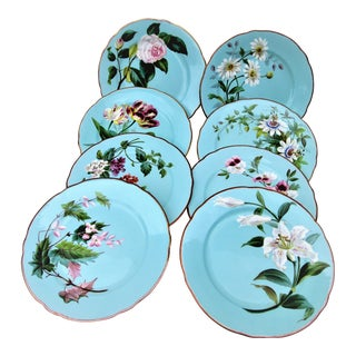 1900s Traditional Floral Aqua Hand Painted Plates - Set of 8
