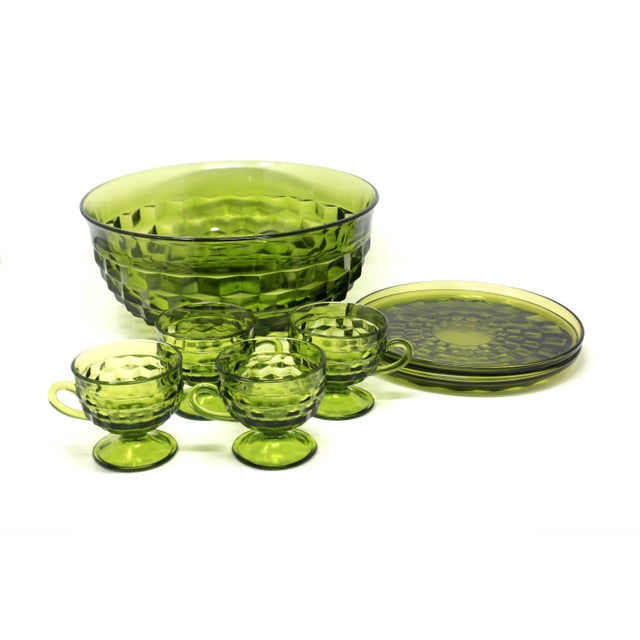 1970's Colony Whitehall Collection Green Punch Bowl, Cups and Plates - Set of 7 For Sale In Tampa - Image 6 of 11