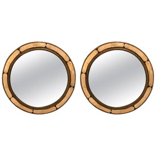 Pair of White Brass Moorish Style Mirrors For Sale