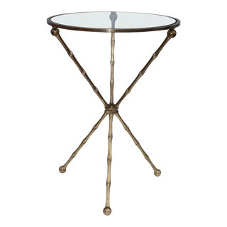1950s Faux Bamboo Brass Tripod Side Table For Sale