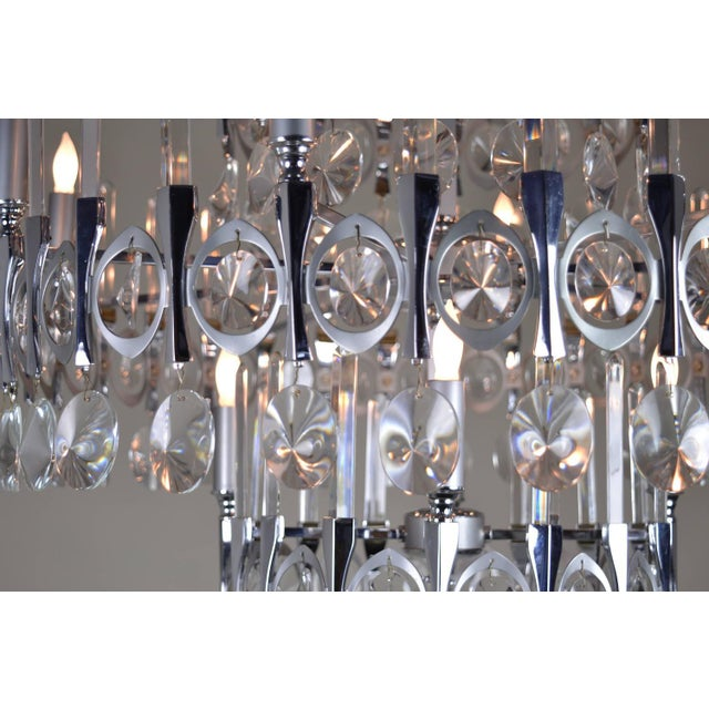 Crystal Gaetano Sciolari Large Three-Tier Modernist Crystal Chandelier, Italy, 1960s For Sale - Image 7 of 9