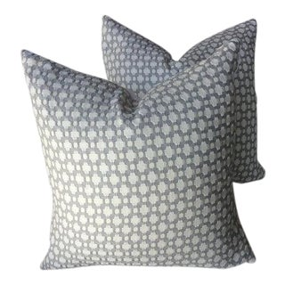 "Schumacher ""Betwixt Zinc and Blanc Pillows - a Pair"
