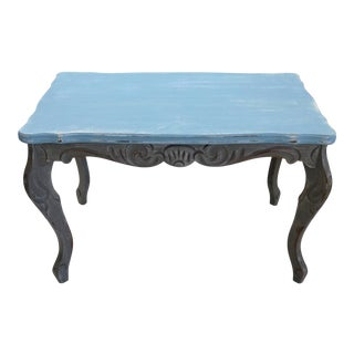Antique Country French Carved Painted Side Table For Sale