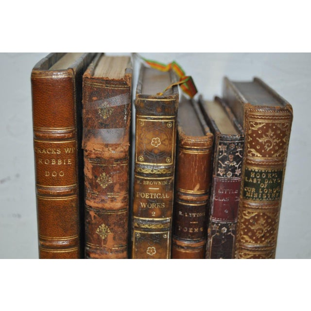 Antique Leather Bound Books - Set of 6 - Image 4 of 7