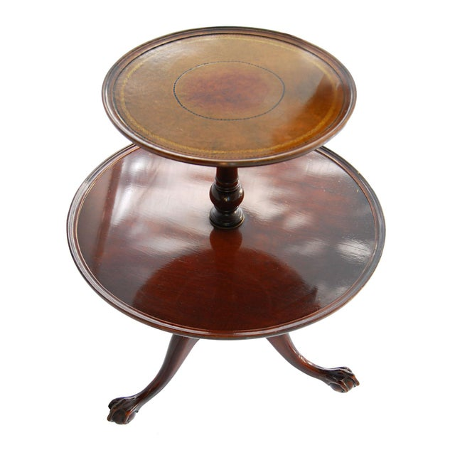 Vintage TwoTier Mahogany & Leather Claw Foot Table - Image 2 of 7