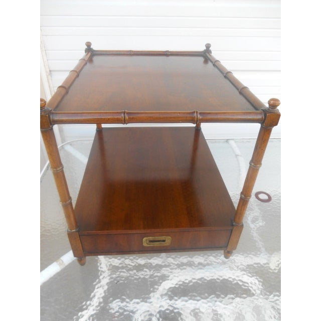 Henredon Henredon Asian Campaign Style Faux Bamboo End Table For Sale - Image 4 of 6