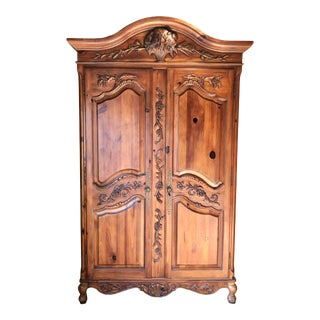 French Country Ethan Allen Pine Armoire For Sale