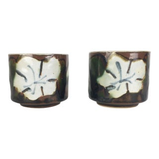 1970s Japanese White Flower Stacking Mugs - a Pair For Sale