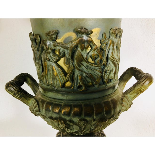 Bronze Mid-Century Classical Urn Lamps – a Pair For Sale - Image 7 of 12