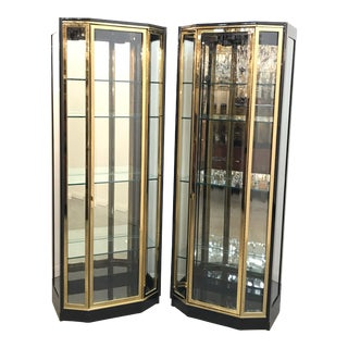 1970s Hollywood Regency Henredon Ebonized and Brass Curio Cabinets - a Pair For Sale