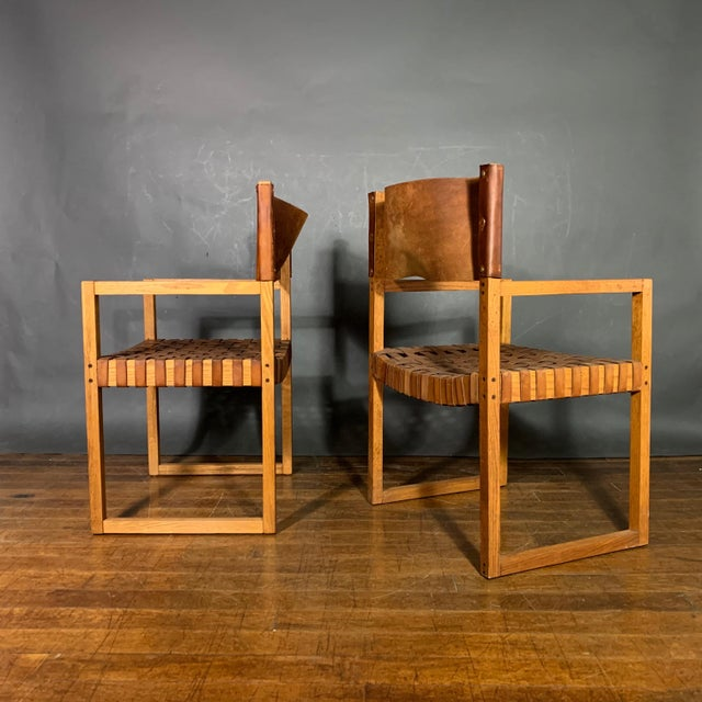 1970s Set of Six Danish 1970 Woven Leather & Oak Dining Chairs For Sale - Image 5 of 11