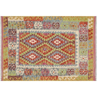 "Contemporary Afghan Maimana Kilim - 3'4"" X 4'9"" For Sale"
