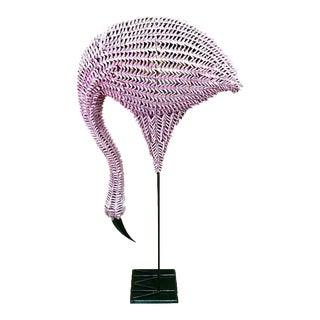 Lifesize Pink Flamingo Rattan and Reed Sculpture