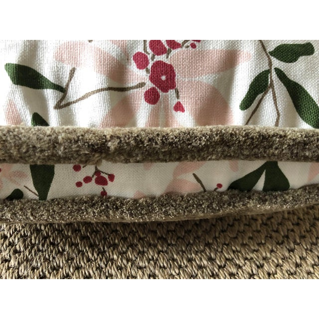 """Custom Bolster Pillow of Block and Brayer """"Mountain Laurel"""" Petal Pink/Forest Green/Umber/Berry with """"Wooly Sable"""" Fringe,..."""