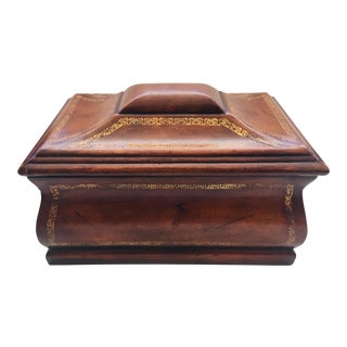 1990s Maitland Smith Leather Treasure Box For Sale