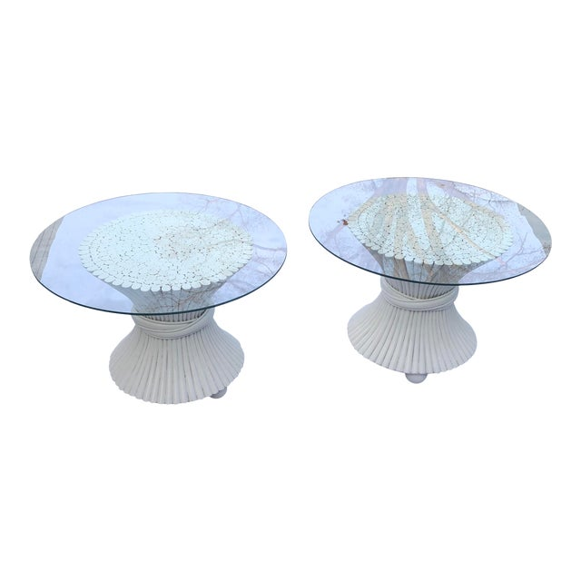 1960s McGuire Wheat Sheath Side Tables - a Pair For Sale