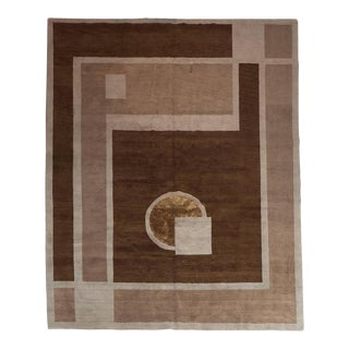 Art Deco Style Nepalese Hand-Knotted Carpet / Rug in Hues of Brown Topaz For Sale