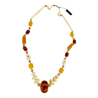 1980s Carlo Zini Faux Amber and Faux Ivory Necklace For Sale