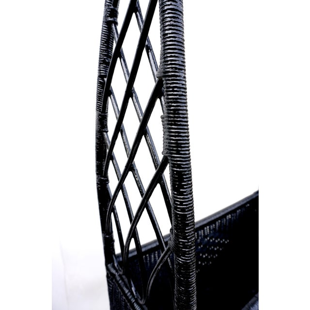 Black Lacquered Wicker Plant Stand Arched Trellis Fernery Box For Sale In Los Angeles - Image 6 of 11